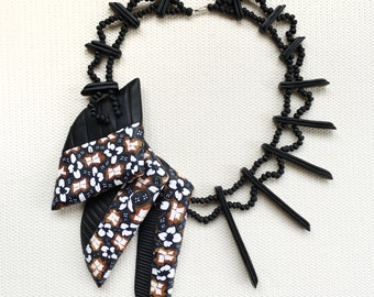 Sigil: Indonesian Batik Necklace with handmade beads from polymer clay
