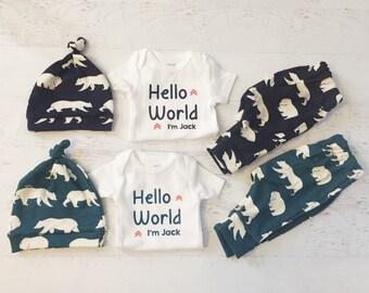 Baby Boy Twins Coming Home Set / Bears / Organic Cotton