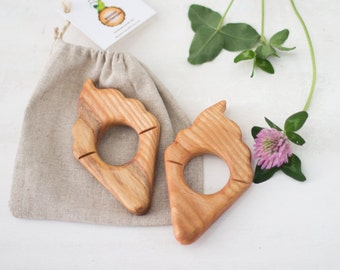 Eco Teether Ice cream Baby teething toy Baby gift Handmade Baby toy Wooden teether