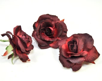 Set of 3 Small Maroon Roses for Crafting, Stemless