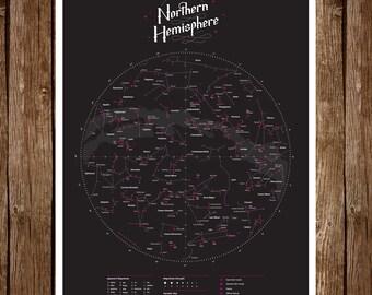 Night Sky Map - Northern Hemisphere   Constellation Infographic   Star Chart and Names   Digital  Art Print   Wall Decor   Education   18x24