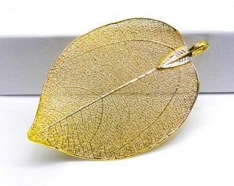SALE Natural Leaf Pendant, Gold Plated Pendant, Metallic Gold, Gold Plated Leaf, Leaf Pendant, Leaf Jewelry, Leaf Charm Fall Jewelry