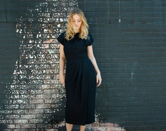 Vintage Scaasi Black Mid-Calf Evening Dress with Pleating