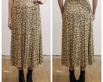 Vintage Leopard Print High Rise Skirt 1990s 90s High Waisted Flowy Long Animal Print Long Skirt w/ Center Slit S Sm Small