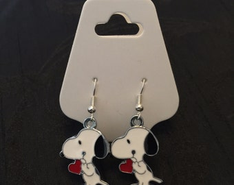Silver Plated Snoopy Dog Heart Earrings