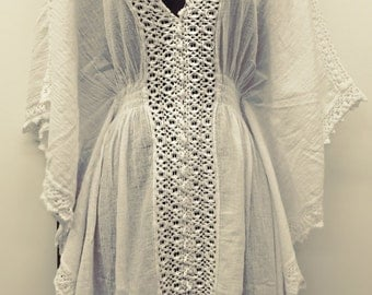 Woman Beach Dress Swimsuit Cover Up Hand Made Poncho Oraganic White Peruvian Pima Cotton Cruise Beach Resort Soft Comfortable With Pockets