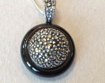 Marvelous Italian Marcasite Sterling Silver Pendant/Chain Necklace