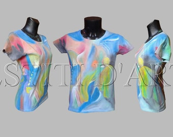 HAND PAINTED T SHIRT womens tops gift men funny tshirts unique rare clothing boho gypsy hippie clothes wearable art clothing tops and tees