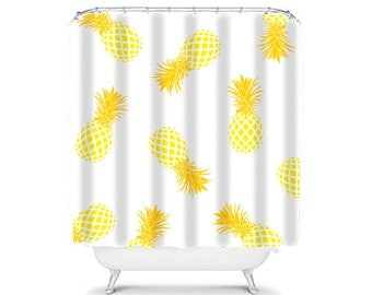 yellow shower curtain pineapple shower curtain yellow bathroom decor kids shower curtain childrens shower curtain