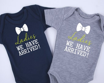Baby Shower Twins, Ladies We Have Arrived Twin Boy Outfits, Set of 2 - Gray & Navy Blue Bodysuits, Funny Gift For Twin Boys, NB to 12-18 m
