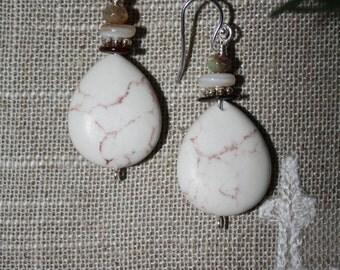46 White magnesite, shell and Czech glass dangle earrings, sterling ear wires, boho, artisan