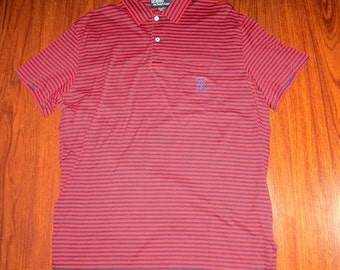 Polo Ralph Lauren Shirt red mens 1990s vintage midnight blue stripe short sleeve button rugby pullover cotton large size rockabilly golf