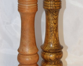 "Tall Tiger Stripe Wood Woodcrest by Styson Japan Salt Shaker & Honey Colored Wood Pepper Shaker Japan--10"" Tall"
