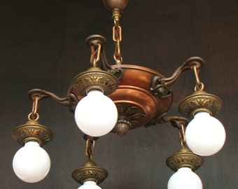 "Antique Lighting: Circa 1920 five light bare bulb ""pan"" mixed metal fixture"