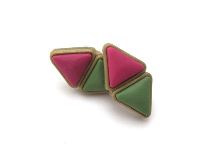 CLEOPATRA STUDS// Little Tusk, raspberry and olive double pyramid geometric, polymer clay studs// Handmade triangle studs//  #SE1011B