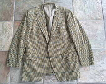 1960s STANLEY BLACKER Wool Gun Club Check Sport Coat 42R Ivy League