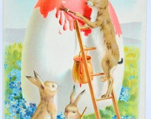 Easter Postcard Humanized Rabbit Painting Giant Egg Raphael Tuck Card