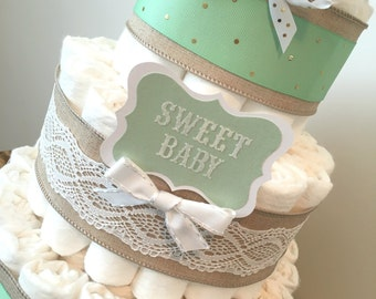 Mint Green Diaper Cake, Diaper Cake Centerpiece for Neutral Baby Shower