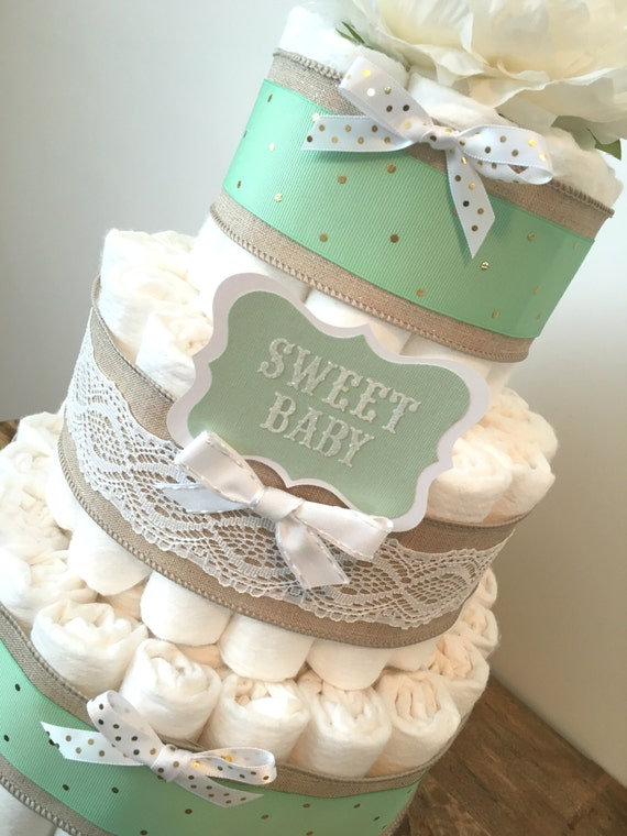 Green Baby Gifts Uk : Items similar to mint green diaper cake