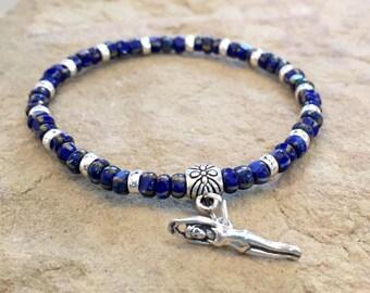 Blue bracelet, bracelet for swimmer, gift for swimmer, seed bead bracelet, stretch bracelet, sterling silver bracelet, swimmer charm