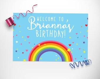 Rainbow Birthday Party Sign Printable / Rainbow Birthday Party Welcome Sign Printable / Rainbow Party Decorations / Rainbow Party Decor