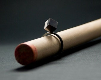Silver ring 925 / diagonal / cube / oxidized silver