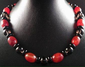 Carnelian necklace smoky quartz