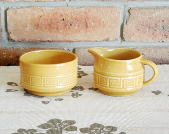 Doulton Grecian Key 'oven to table ware', creamer and sugar jug, 1970s, gift idea