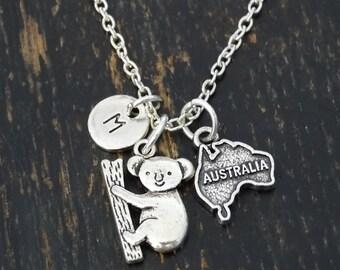 Australia Necklace, Australia Charm, Australia Pendant, Australia Jewelry, Australia Map Necklace, Australia Country, Koala Bear Necklace
