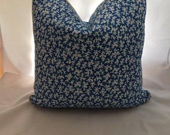 "20 x 20 Scalamandre Cotton Cobalt Blue ""Reef"" Decorative Feather Down Decorative Throw Pillow"