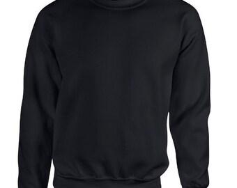 SALE! Large Black Custom Adult Pocket Crewneck Sweatshirt- Select Your Own Pocket- NFL, ncaa, nba, mlb, nhl