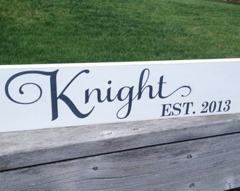 """Family Established Hand-Painted Wood Decor Sign - 6""""x24"""""""