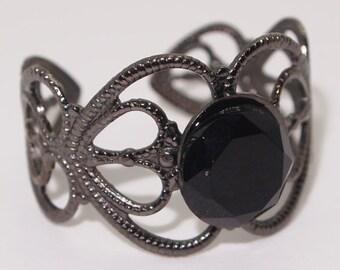 Black Onyx Rings, Onyx Rings, Black Rings, Onyx Gemstone Rings, Onyx Jewelry, Black Jewelry,Onyx Gunmetal Rings,Onyx Vintage Look,Adjustable