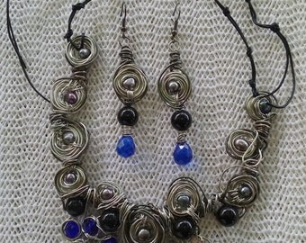 "Handmade Jewelry Set, Handmade- Crystal, Shell,  Silver, Design, Bib Necklace (21.5"", Adjustable)/Earrings (2.25"")"