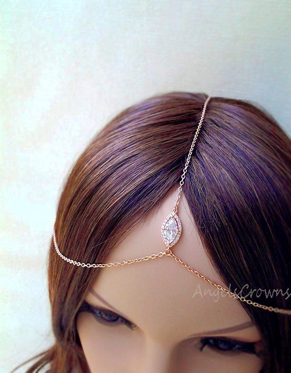 Silver Rose Gold Head Chain Headpiece pink gold Hair Jewelry