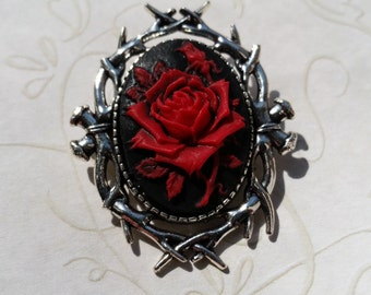 Gothic Rose Cameo Brooch