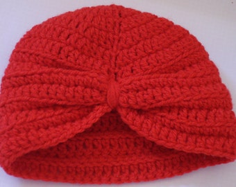 Baby Turban Hat crocheted in 8 ply Acrylic Yarn in Geranium Colour - suitable from Newborn up to 6 months depending on size of baby