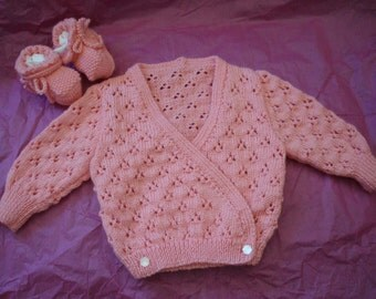 Baby Girls Lace  Crossover Cardigan and Booties knitted in 4 ply Patons Baby Yarn in Apricot to suit 3 months plus
