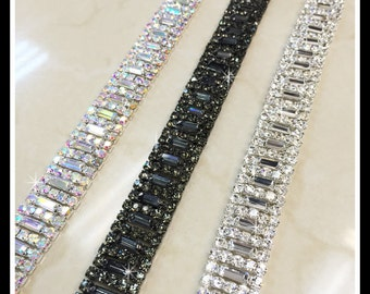 1 yard Rhinestone trim/ Rhinestone Chain/ Formal gown belt/ Swarovski shine #0190