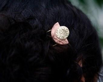 Metal Moon Handmade Hair Pin, Two Tone Sun Hair Stick, Sun Hairpin, Crescent Moon Hair Jewelry, Arc Hair Pin, Copper Handmade Hair Accessory