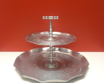 Vintage Aluminum Etched Two Tier Tidbit Tray
