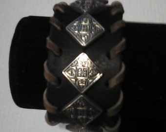Diamond shaped beaded cuff bracelet.