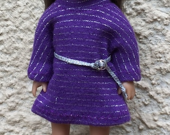 six inch mini doll clothes:  sparkly striped sweater dress and belt