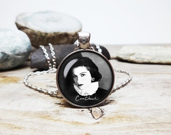 Coco Chanel necklace Chanel Signature French fashion designer Chanel pendant Coco Chanel Jewelry Inspirational Jewelry Wisdom Jewelry