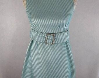 Vtg Women's S M Blue Turquoise Teal Metallic Mod 1960's Go-Go Mini Dress