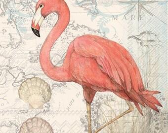 Flamingo NAPKINS, Coastal Napkins, Beach Napkins, Florida Napkins, Seashore Napkin, Seaside Napkins, Tropical Napkins, Seashell Napkins