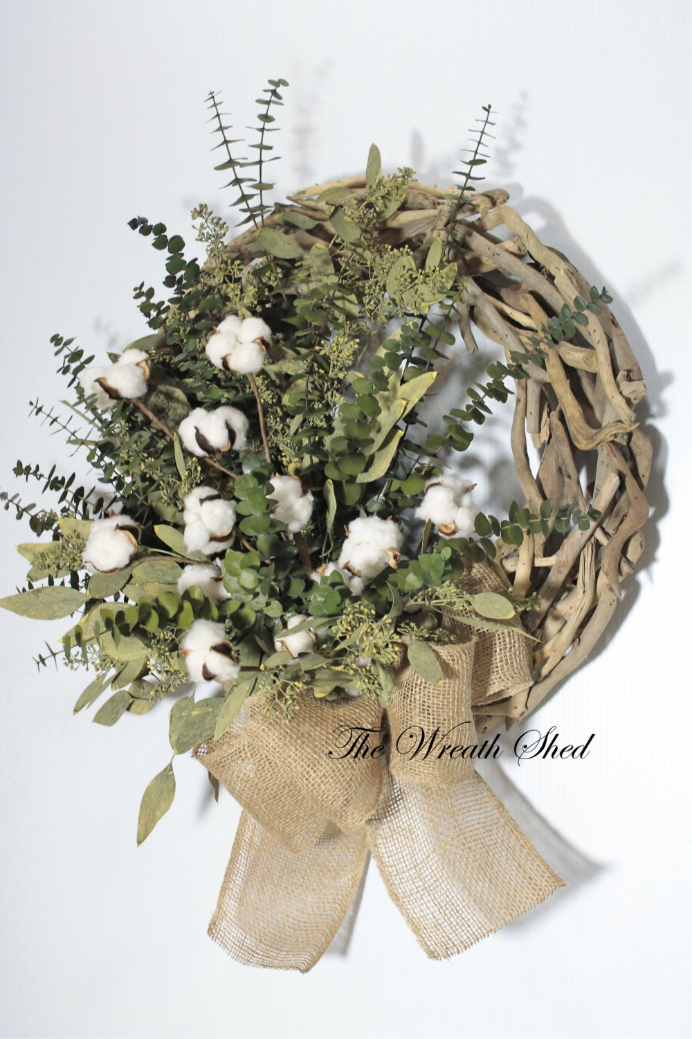 Eucalyptus Cotton Wreath Cotton Boll Wreath Driftwood