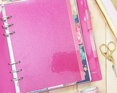 Hot Pink Glitter Dashboard, A5 Dashboard, Pink Glitter Dashboard, Large Dashboard, Planner Dashboard, Page Lifter, Pink Dashboard
