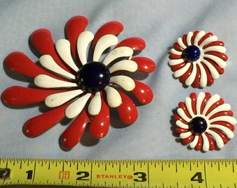 Vintage Enamel Brooch With Matching Earrings