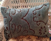 Chenille Pillow Sham teal & chocolate brown repurposed Vintage
